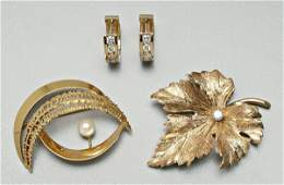 1085: Four pieces 14 kt. gold jewelry: