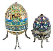 Two Russian Silver and Enamel Eggs
