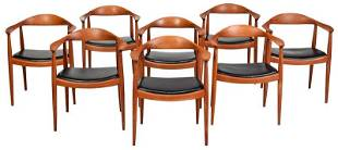 Numbered Set of Eight Hans Wegner Armchairs