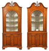 Pair American Chippendale Cherry Corner Cupboards