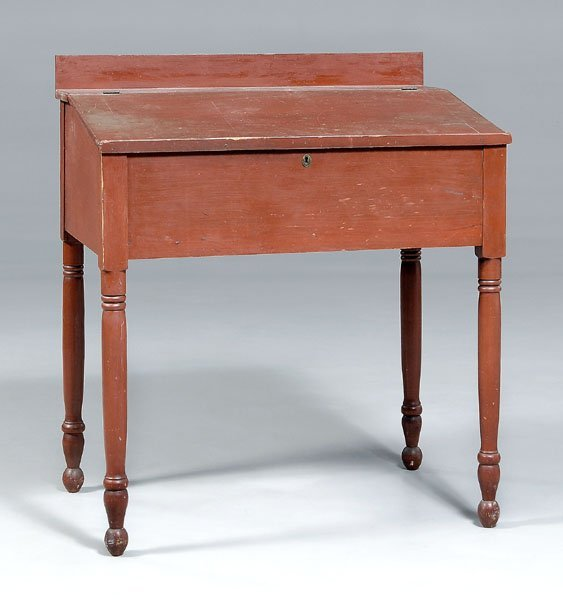 9: Red-painted schoolmaster's desk,