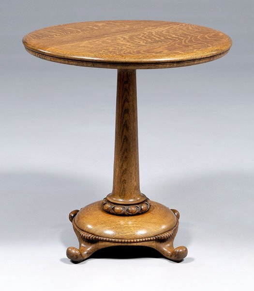 11: Victorian oak pedestal table,