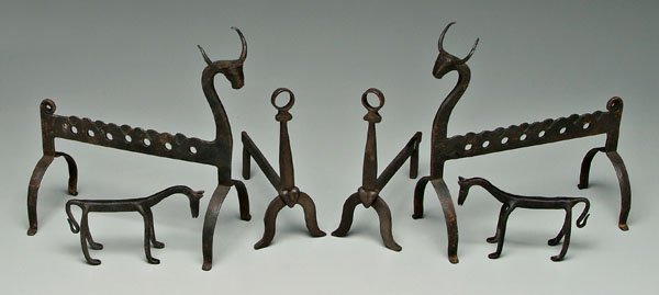 20: Three pairs hand forged iron andirons:
