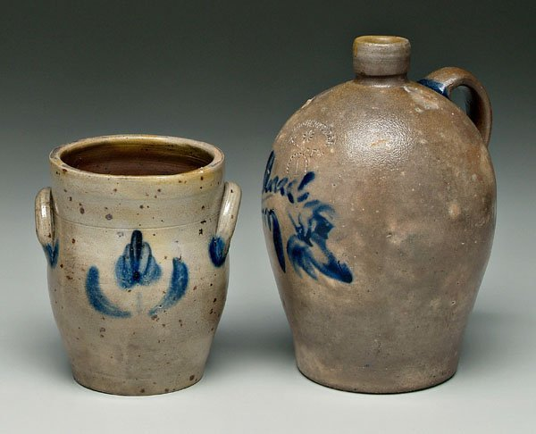 23: Two pieces salt glazed stoneware: