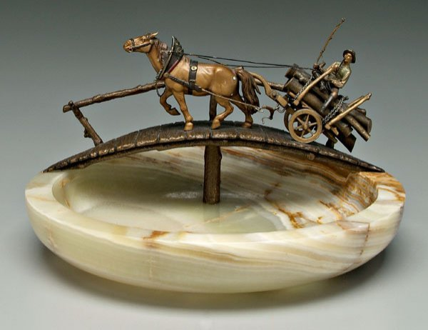626: Cold-painted bronze horse, log wagon,