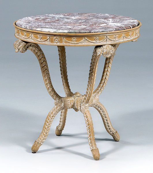 638: Carved beechwood marble-top table,