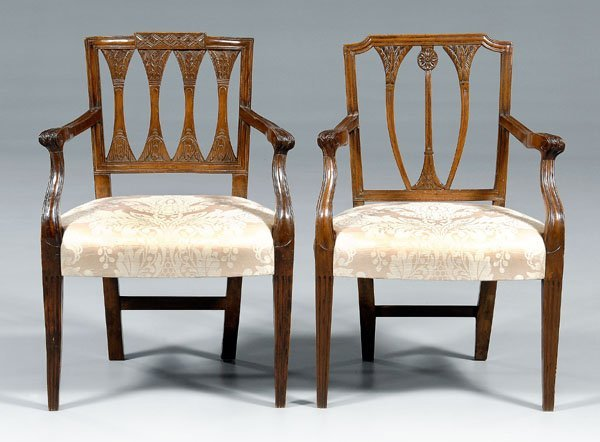 643: Near pair Provincial French armchairs: