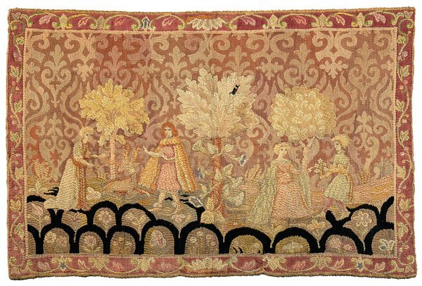 646: Tapestry courting scene,