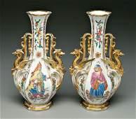 679 Pair Old Paris vases Asian figures