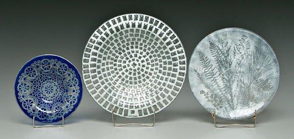 859: Three Walter art glass plates
