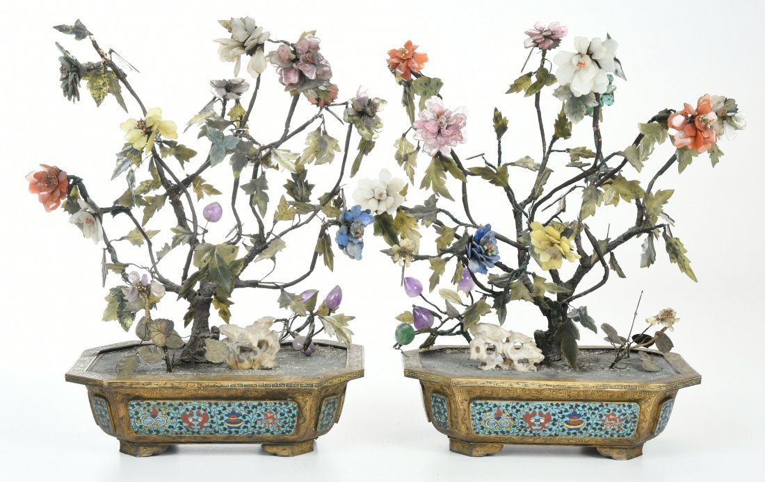 Pair of Jade Bonsai Trees in Cloisonne Planters