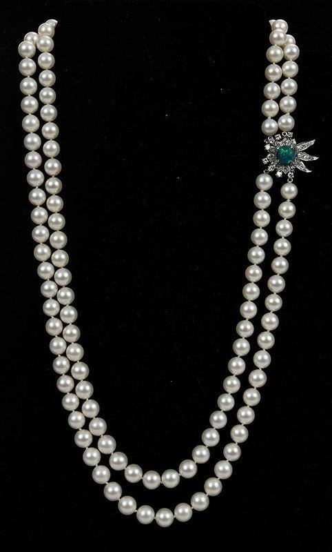 Platinum, Gold, Pearl and Diamond Necklace