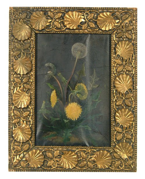 2: Oil on canvas with dandelions, grime, crac
