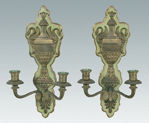 7: Pair two-cup brass wall sconces, urns with