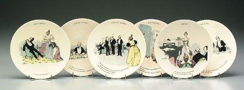 8: Six French transferware plates, satirical
