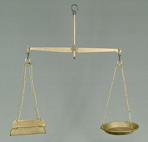 """11: Brass balance scales, marked """"J Rissmus-R"""
