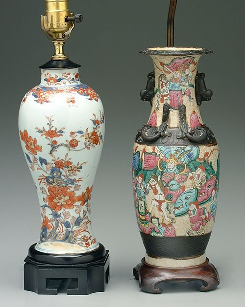 12: Two Oriental porcelain lamps: baluster fo