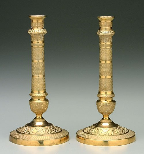 13: Pair French style brass candlesticks, ext