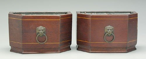 17: Pair six-sided Regency style planters, in