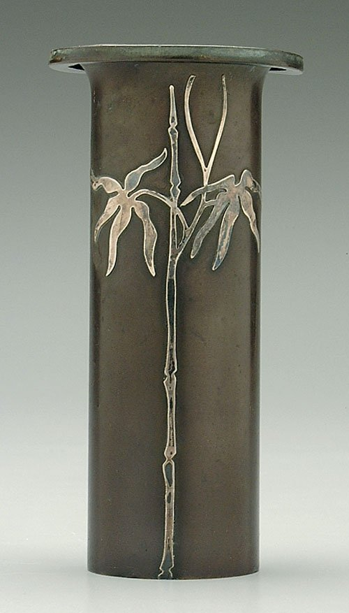 18: Heintz vase, silver-over-bronze, bamboo d