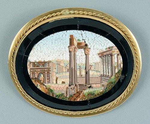 19: Oval micromosaic brooch, neoclassical rui