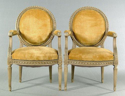 20: Pair Louis XVI style armchairs, acanthus-