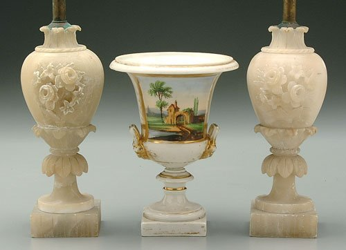 21: Pair alabaster lamp bases carved as urns,