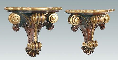 22: Pair mahogany wall brackets, plume and sc