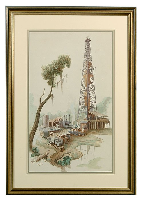 165: Watercolor on heavy paper, oil well with