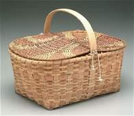 331: Cherokee oak split picnic basket, hinged