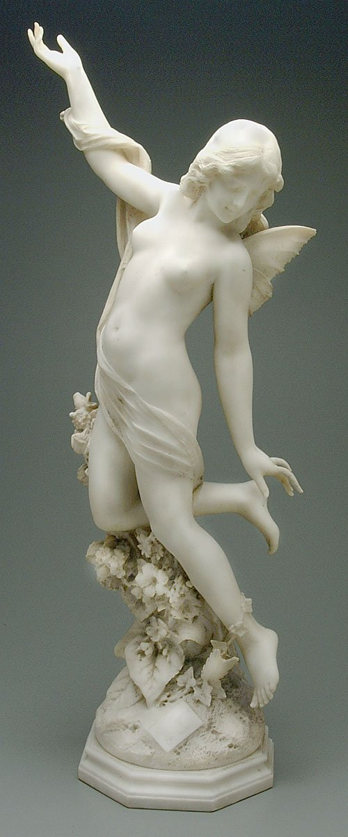 350: Carved marble figure of Psyche, thinly c