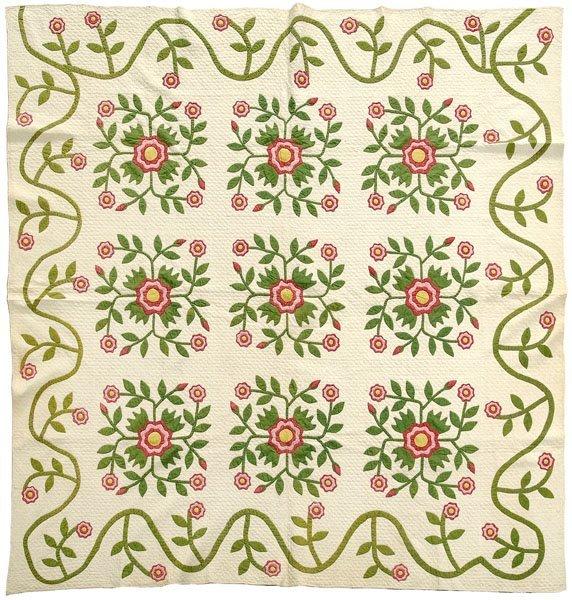 1: Fine Whig Rose applique quilt,