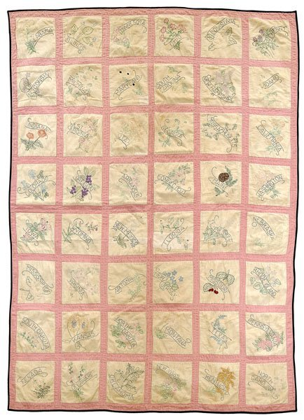 2: 1912 state flower embroidered quilt,