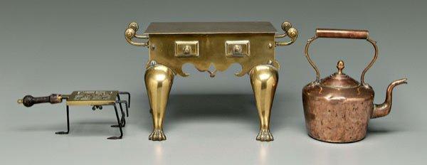 6: Copper teapot, brass trivet, footman: