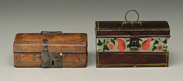 10: Leather and tole boxes: