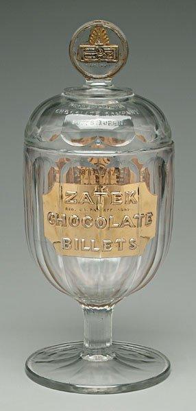 12: Glass chocolate decanter,
