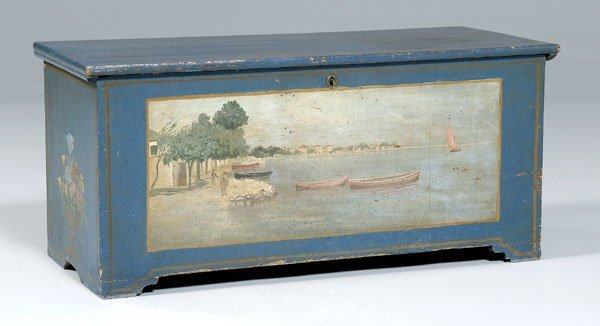 16: Paint decorated pine blanket chest,