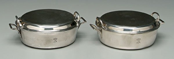 502: Pair Viennese silver entreé dishes: