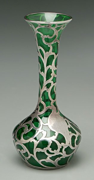 732: Sterling overlay vase,