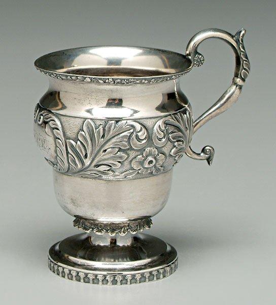 734: Coin silver mug,