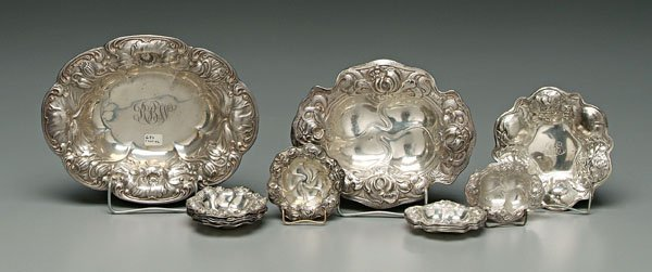 744: Art Nouveau sterling bowls: