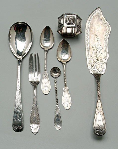 753: Coin silver flatware:
