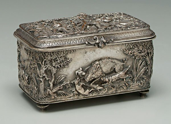 754: Silver plated box,