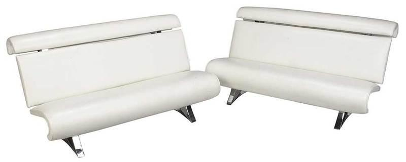 Pair Modern White Upholstered Chrome Sofas