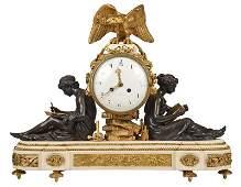 Louis XVI Style Signed Figural Mantel Clock