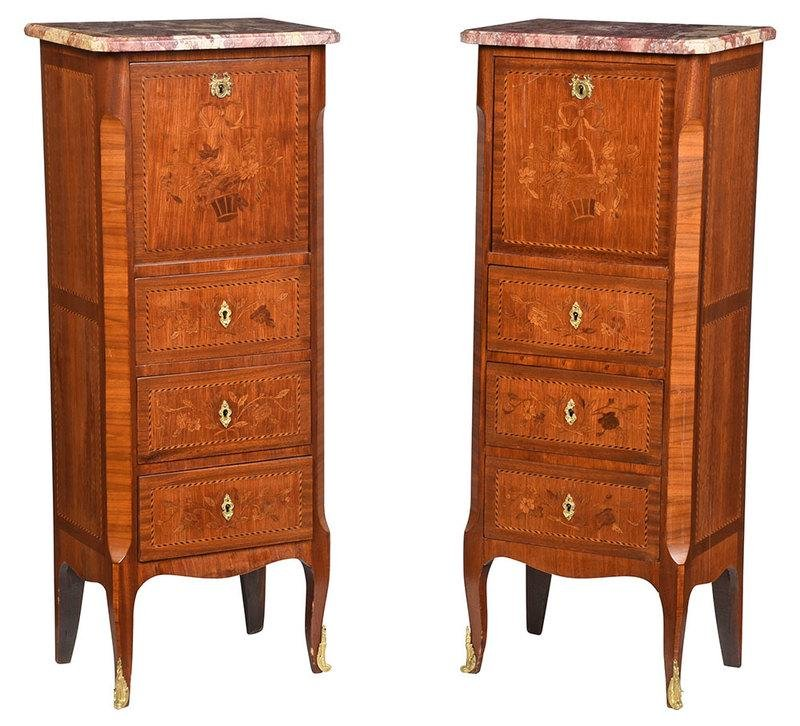 Pair Louis XV Style Marquetry Inlaid Bedside Commodes