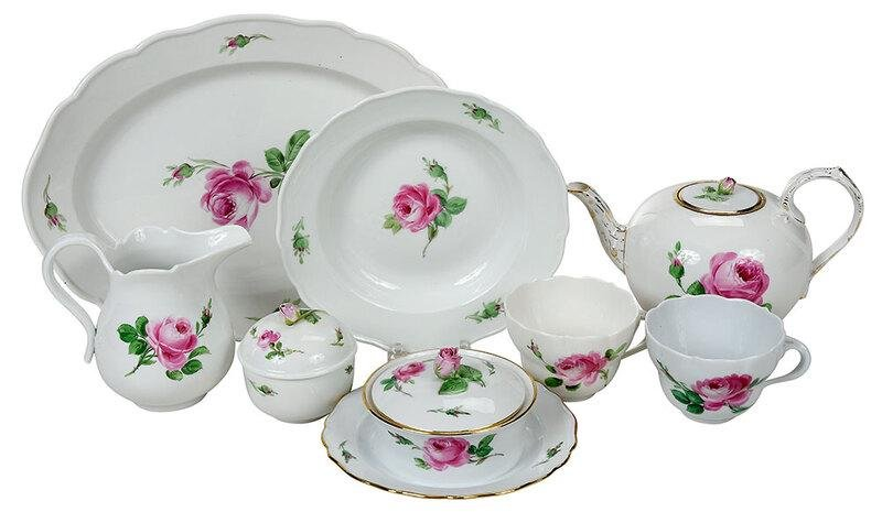 78 Piece Meissen Rose Decorated Porcelain Service