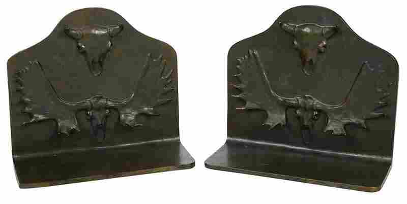 Pair of Bronze Bookends with Skull Motif