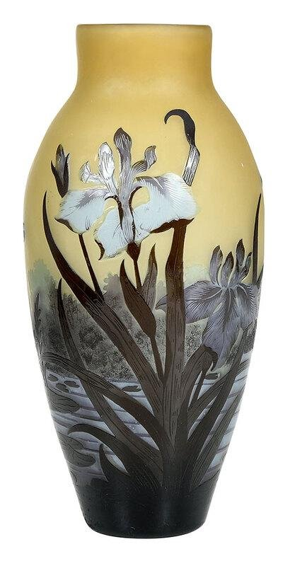 Iris and Dragonfly Cameo Art Glass Vase