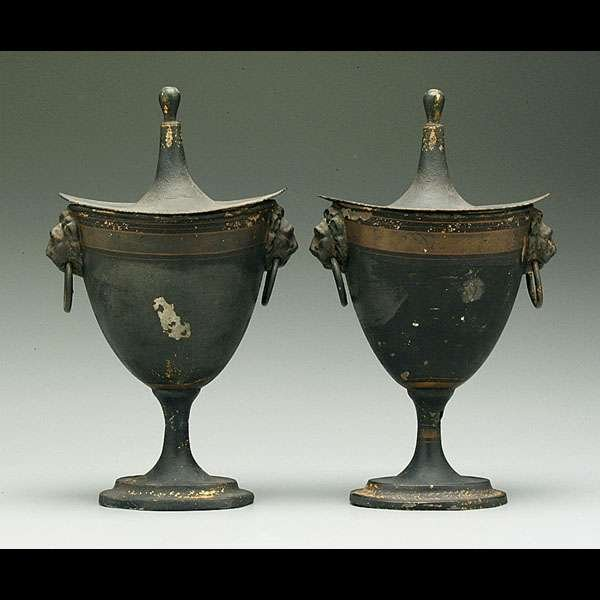 14: Pair tole-painted chestnut urns,